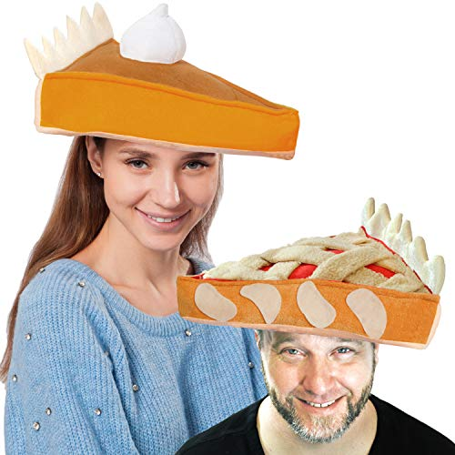 Decorative Plush Pumpkin and Apple Pie Hats for Thanksgiving Holiday Costume Dress Up Novelty Party Favor Supplies]()