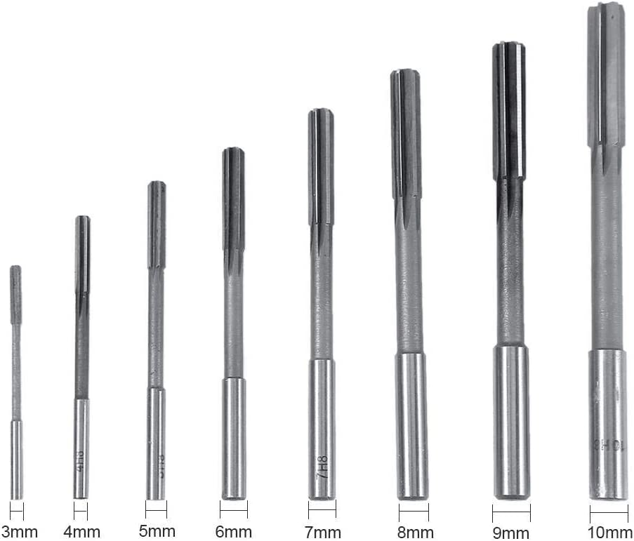 8pcs 3//4//5//6//7//8//9//10mm Straight Shank High Hardness and Accuracy HSS Chucking Reamers Milling Cutting Tool Set for Bore Machining LKK-KK Machine Reamer