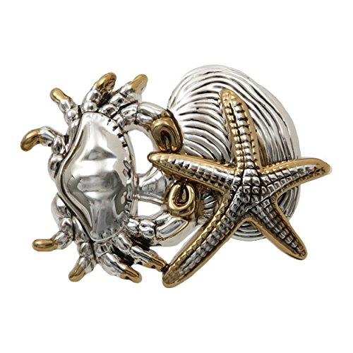 pricegems Large Silver Gold Two Tone Finish Starfish Clam Cancer Horoscope Sea Crab Pendant and 18