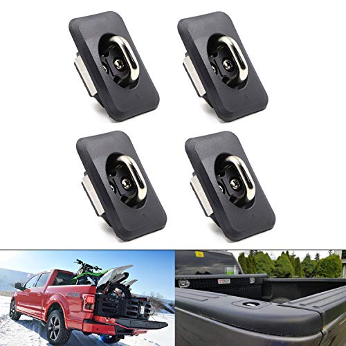 - 1000 Pounds Capacity Retractable Tie Down Anchors, Truck Bed Stake Pocket Side Wall Hook Rings for 1998-2014 Ford F-150, 1998-2016 Super Duty (Pack of 4)