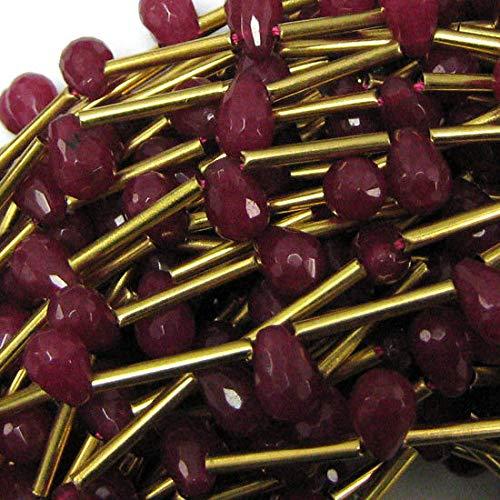 9mm Faceted Ruby red Jade Teardrop Beads 15