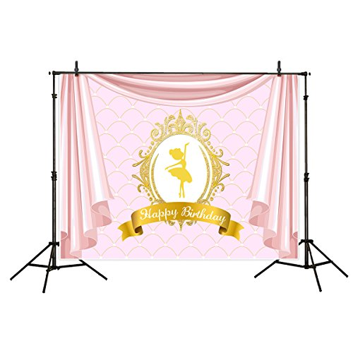 Funnytree 7x5ft Vinyl Birthday Backdrop for Girls Golden Ballet Dancer Rose Pink Drapes Scale Customizable Background for Party Banner Decorations Baby Shower Photography Photocall Photo Booth ()