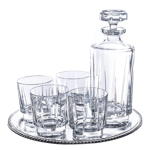 Reed And Barton Estate 6 Pc Whiskey Set Round Tray - 4 Glasses, 1 Decanter And 1 Tray (Estate Collection Cut Crystal)