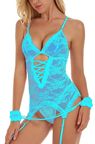 Unilove Bodysuit Lingerie for Women Sexy Corset with Straps Lace Babydoll Chemise (2XL, Blue) (Corset Sexy Lace)