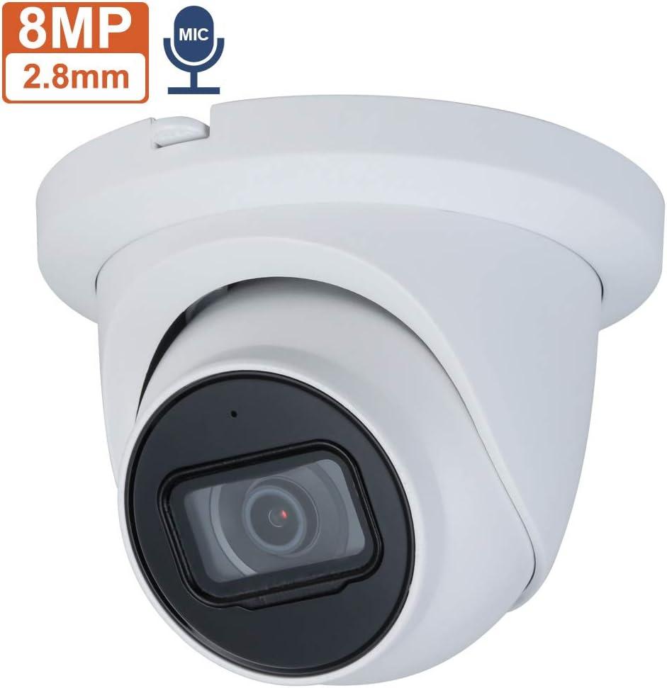 8MP 4K UltraHD POE Starlight IP Camera OEM IPC-HDW2831TM-AS-S2, 2.8mm Fixed Lens, Lite IR Eyeball Network Outdoor Camera with 98ft Night Version,H.265+, IP67, SD Card Slot, Onvif, IVS, Built-in MIC