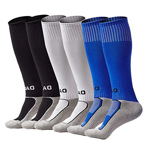Football Training Kids (Kids Soccer Socks Boys Girls Knee High Long Sport Compression Football Socks (Black&White&Blue))