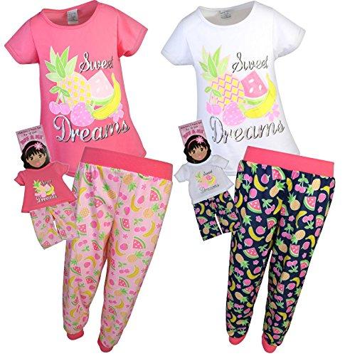 BFF & ME Girls 4 Piece Jogger Pajama Set with Matching Doll Pajamas, Fruit, Size 7/8' -