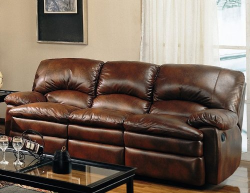 Leggett Leather Recliner (Coaster Walter Casual Dual Reclining Sofa, Brown Bonded Leather)