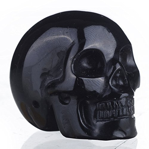 "Mineralbiz 1.5"" Natural Black Obsidian Hand Carved Crystal Skull, Human Skull Head Carving, Pocket Skull, Healing Reiki"