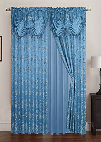 Jacquard Polyester Valance - RT Designers Collection Clayton Jacquard 108 x 84 in. Double Curtain Panel Pair w/Attached 18 in. Valance, Blue (Set of 2)