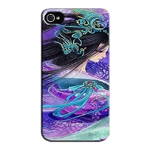 Anti-shock Lady And The Purple Bird Silver Lady And The Purple Bird For Iphone 4 Protective Case