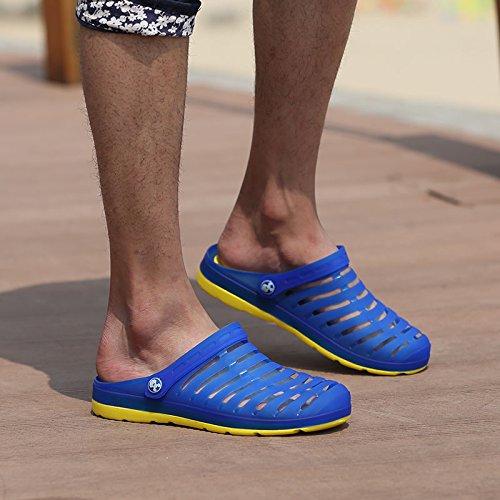 Xing Lin Flip Flop De La Playa Los Hombres Del Agujero De Verano Zapatos Zapatillas Calzado De Playa De Moda La Mitad Femenina Zapatillas Sandalias De Tamaño Grande De Parejas 233-1 Sapphire yellow