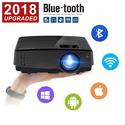 CAIWEI Portable Projector Wireless WiFi Home Theater Projector Support 1080p Full HD, WiFi Projector Mini with Keystone Correction for Movie Gaming Party Sport Netflix Xbox DVD Player Roku