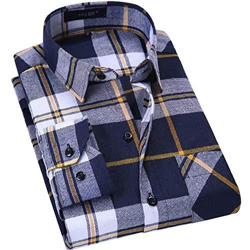 DOKKIA Men's Dress Slim Fit Buffalo Plaid Checked Long Sleeve Flannel Shirts (Black Yellow Buffalo, Large)