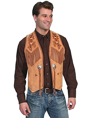 (Scully Men's Beaded Boar Suede Leather Vest Tan 44 R)