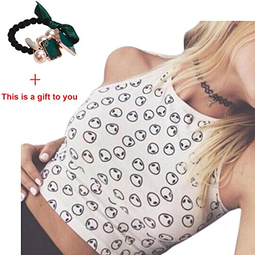 Lowpricenice(TM)Women Sleeveless Crop Tops Vest Alien Halter Tank Tops (L, White) (Cheap Sexy School Girl Outfits)