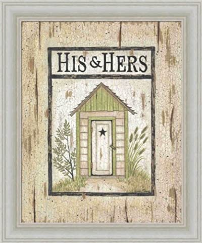 His and Hers Outhouse by Linda Spivey Country Sign 10x12 in Art Print Framed Picture (His And Her Bathroom Decor)