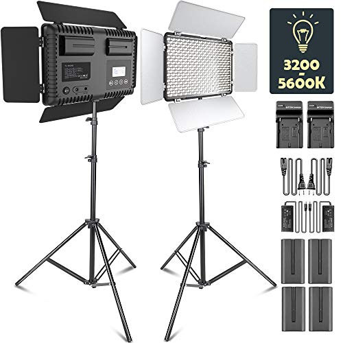 LED Video Light, SAMTIAN Dimmable Bi-Color 600 LED Studio Lights Lighting Kit: 3200K-5600K LED Panel Light with Barndoor, 2M Light Stand for YouTube Studio Photography Video Shooting