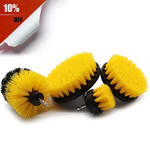 TOOVREN Drill Brush Power Scrubber Cleaning for Tile Grout Bathroom Shower Tub Floor Corners Kitchen Surfaces Stove Drill Brushes Set (4 Piece,Yellow) -