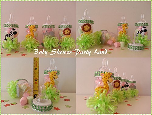 12 Fillable Bottles Baby Shower Favors Prizes Games Safari Jungle Noah's Animals -