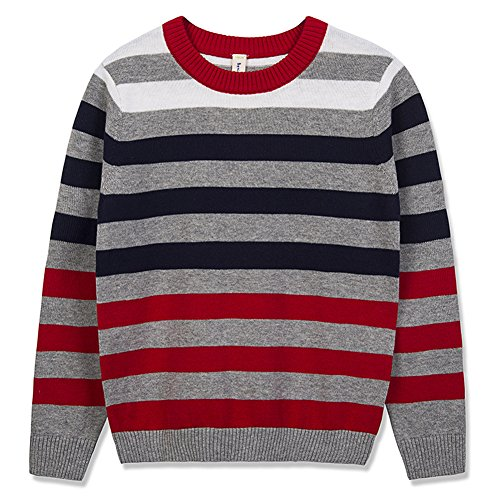 Benito & Benita Boy's Pullover Sweater Crew Neck Cotton Sweater Casual Style with Stripes for Boys/Girls Navy 3-12Y by Benito & Benita