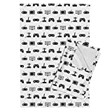 Roostery Video Game Tea Towels Pattern Black and White Vintage Retro Fun Gaming by Cloudycapevintage Set of 2 Linen Cotton Tea Towels