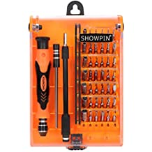Showpin 45in1 Mini Precision Screwdriver Set with Case with Tweezer Handle and Torx Hex Bits,Professional Repair Tool Kit with 42 Magnetic Driver Bits,for PC,iphone,Tablet,Laptop,Camera,Game Console
