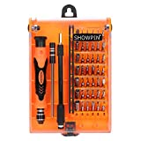 Showpin 45in1 Mini Precision Screwdriver Set Small Torx Set, Professional Repair Tool Kit Tweezer Handle and Hex Bit with 42 Magnetic Bits Compatible for iphone, Tablet, Laptop, Camera, Console
