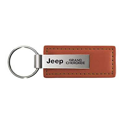Au-Tomotive Gold, INC. Jeep Grand Cherokee Leather Key Chain Brown Rectangular Key Ring Fob: Automotive