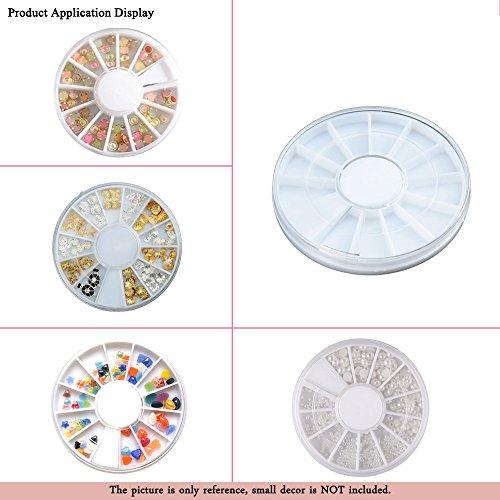 10Pcs Empty 12 Grids Compartment Storage Box 60mm Beads Rhinestone Gems Jewelry Nail Art Container Case Organizer Round