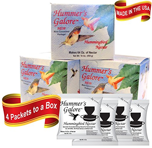 Hummers Galore, Hummingbird Food, All Natural Hummingbird Nectar for Healthy Hummingbirds, 3 Boxes of 4 Packets each ()