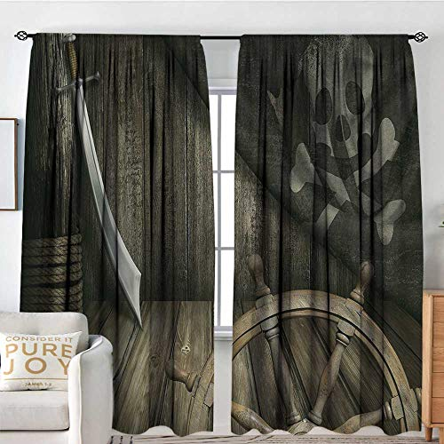 Petpany Curtains for Bedroom Ships Wheel,Steering Wheel with Old Jolly Roger Flag and Saber in Pirates Ship Control Room Art,Brown,Darkening and Thermal Insulating Draperies 54