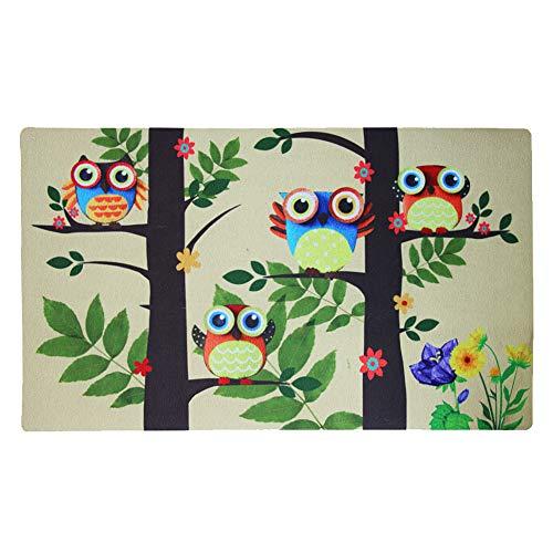 YK Decor Owl Welcome Doormat Print Front Door Mat Outdoor Indoor Entrance Doormat Low Profile Entrance Rug Non Slip Rubber Welcome Mat