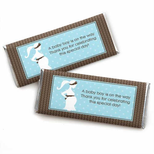 Mommy Silhouette (It's A Boy - Mommy-To-Be Silhouette - Baby Shower Candy Bar Wrappers Party Favors - Set of 24)