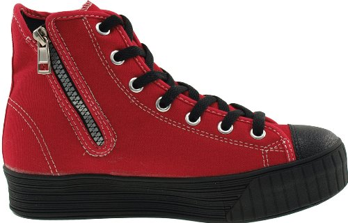 Maxstar 7 Sneakers Top Reißverschluss C30 High Niedrige Red Loch Schuhe Canvas Solid Plateau rrwqBx5z