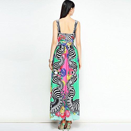 Dress Sleeveless Printed Slip Dresses cotyledon Women`s Long A1vxqnnCYw