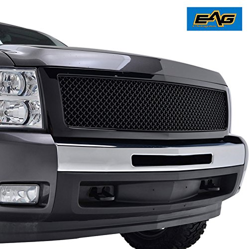 EAG Glossy Black ABS Replacement Mesh Grille Grill with Shell for 07-13 Chevrolet Silverado - Shell Grill