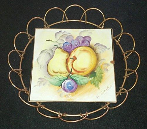 Vintage UCAGCO Signed Ceramic Tile Artwork Painting in Copper Round Frame NEATO (Ceramic Signed)