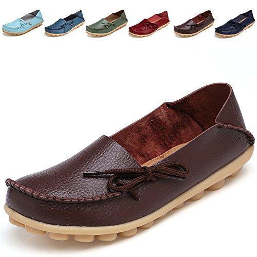 LUUB Frauen Lace Up Loafers Echtes Leder Rindsleder Freizeitschuhe Indoor Wohnung Slip-On Driving Hausschuhe 1.braun