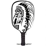 AngelDOU Tribal Lightweight Neoprene Pickleball Paddle/Racket Cover Case Sketchy Hand Drawn Grunge Style Old Native American Eastern Tribe Chef Image Decorative Durable and Portable.Black and White