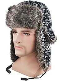 Russian Winter Hat Faux Fur Trapper Hat Cotton Wool Blend Warm Ushanka Russian Hunting Hat For Men/Women