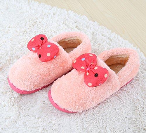 Polliwoo Zapatillas de vellocino Fluff Invierno Interior Casa antideslizantes Calzado para mujer Light Pink