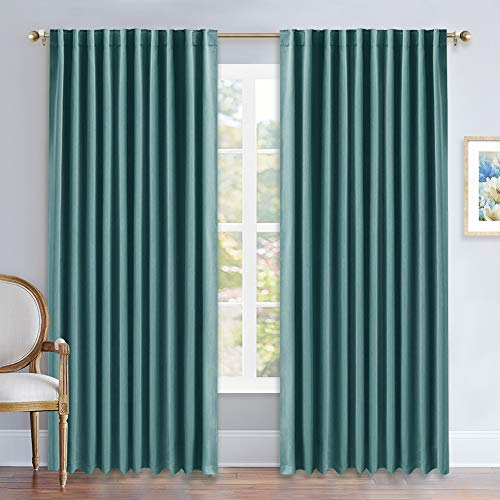 NICETOWN Living Room Blackout Draperies - (Sea Teal Color) W70 x L84, 2 Pieces, Room Darkening Window Blackout Drape Panels (Teal Panel Drapes)
