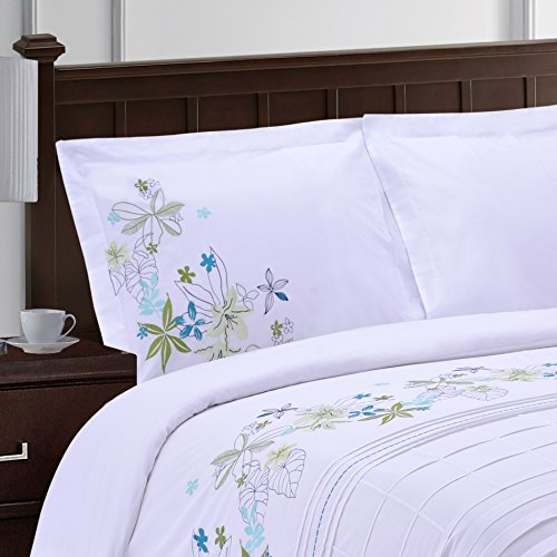 Superior Spring Blooms 100% Premium Cotton Twill Fabric Full/Queen Embroidered Duvet Set by Superior (Image #2)