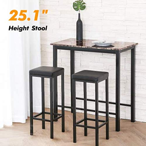 Homuy 3-Piece Pub Table Set Counter Height Dining Set Bar Table Set Breakfast Nook Dining Table Set with 2 Stools,Black