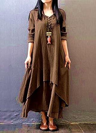 8ed736f1e66 Women Cotton Linen Boho Dress Loose Vintage Plus Size Maxi Dresses at  Amazon Women s Clothing store