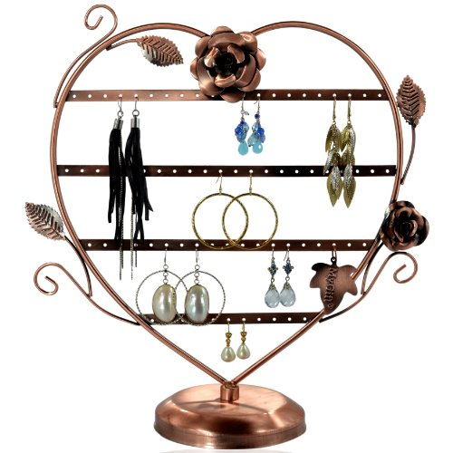 Copper Color Heart-Shaped with Roses Earring Holder / Earring Tree / Earring Oraganizer / Earring Stand / Earring - Stand Display Earring Shape Tree