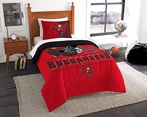 (Tampa Bay Buccaneers - 2 Piece TWIN Size Printed Comforter Set - Entire Set Includes: 1 Twin Comforter (64