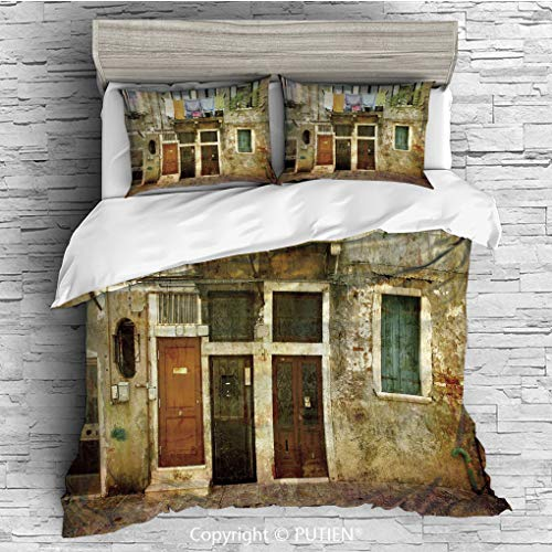 QUEEN Size Cute 3 Piece Duvet Cover Sets Bedding Set Collection [ Venice,Old Weathered Building Facade with Hanged Clothes Murano Island Grunge Architecture,Multicolor ] Comforter Cover Set for Kids G
