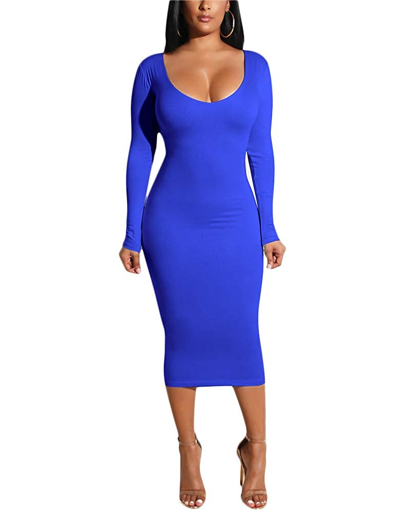 Women's Long Sleeve Bodycon Dresses - Elegant Hollow Out Solid Slim Midi Dress